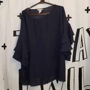 Bnnw beautiful h&M navy blue sheer shirt